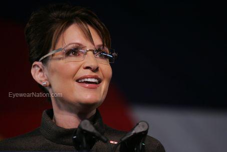 Sarah Palin wearing her signature Kazuo Kawasaki 704 Eyeglasses